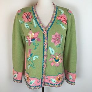 Storybook Knits Cardigan Sweater Embroidered